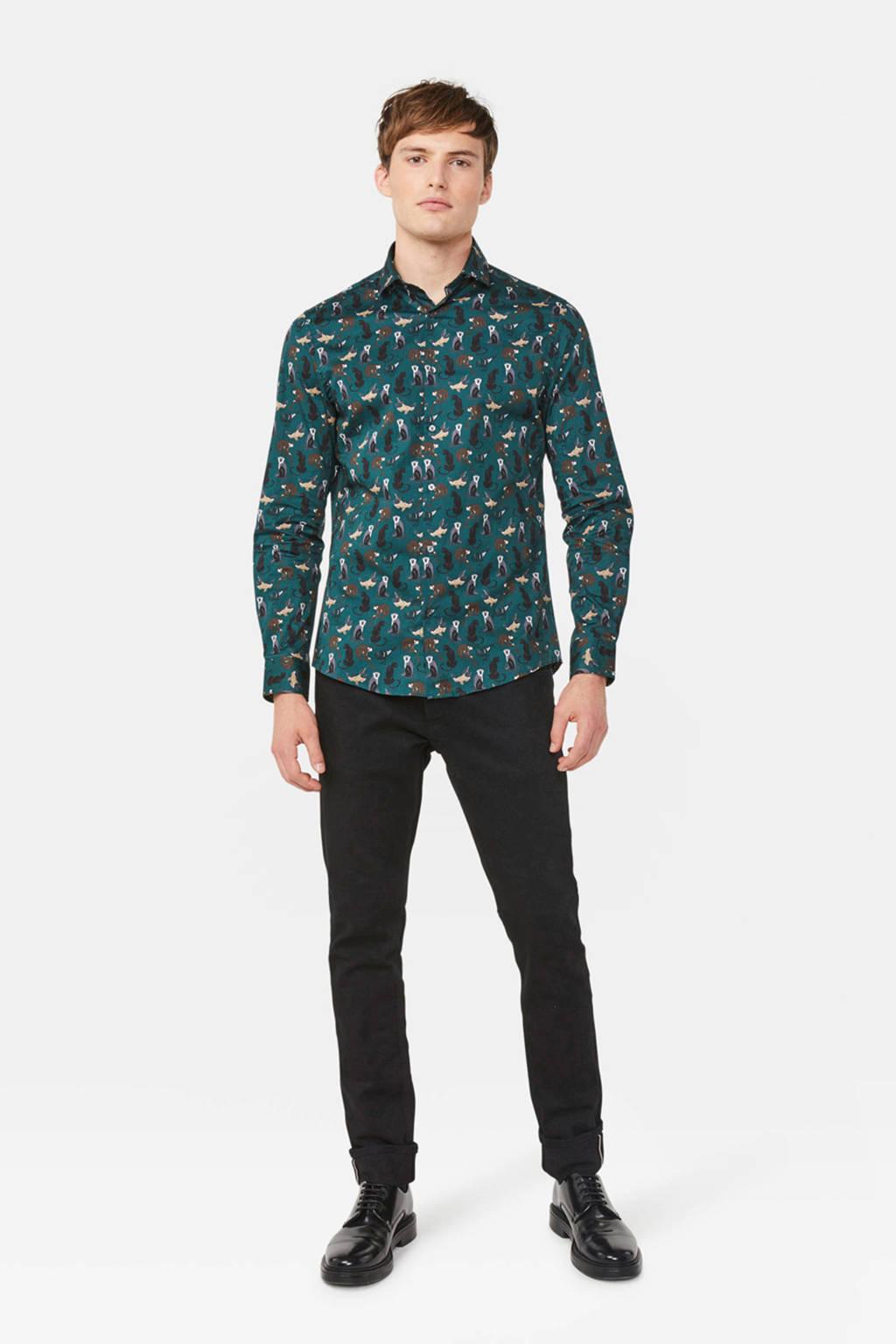 WE Fashion slim fit overhemd met all over print dark wood, Dark Wood