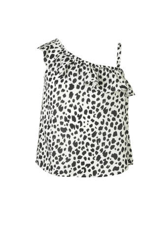 Here & There one shoulder top met panterprint en volant ecru