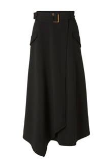 overslag rok met ceintuur zwart