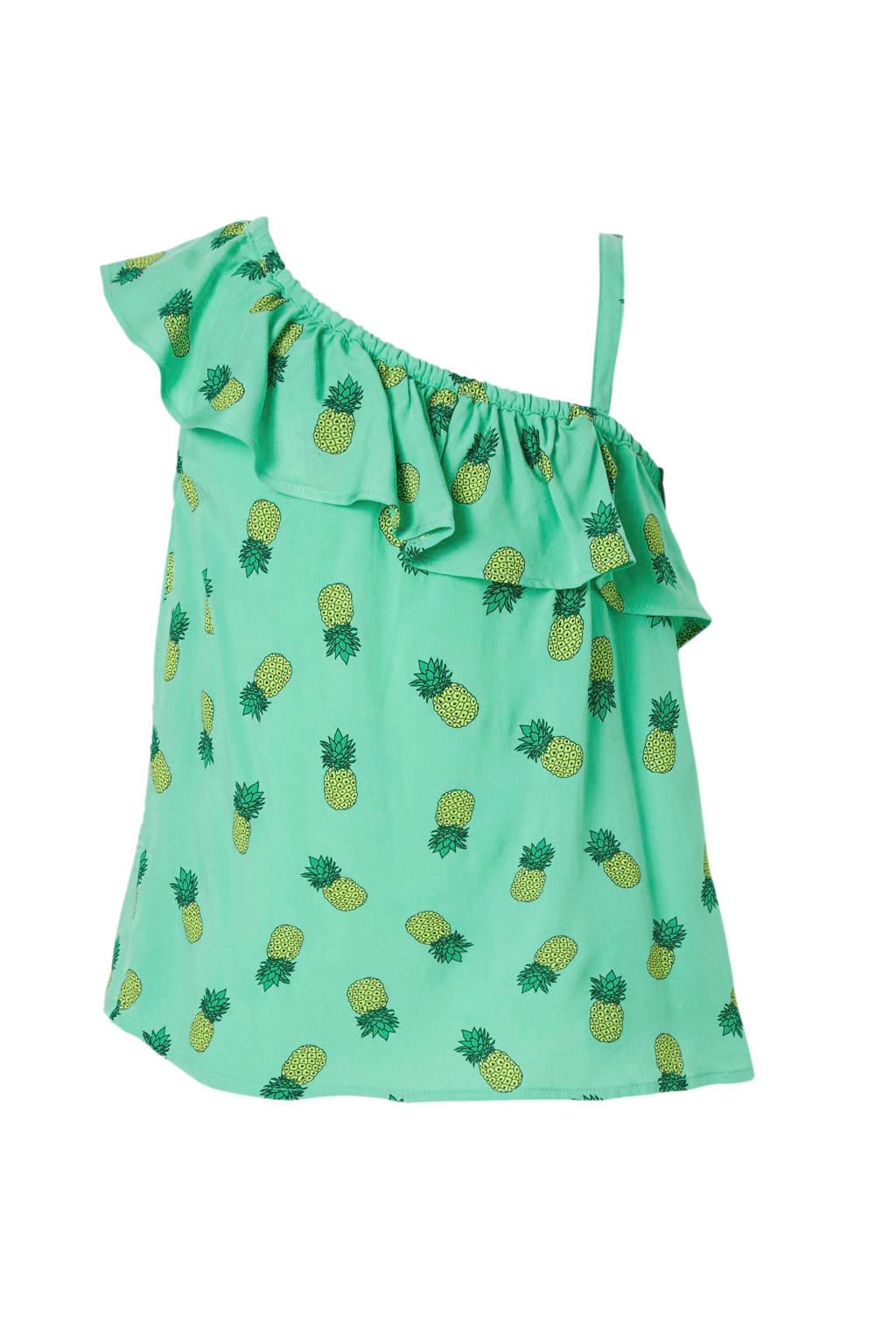 C&A Here & There one shoulder top met ananassen en volant groen, Groen