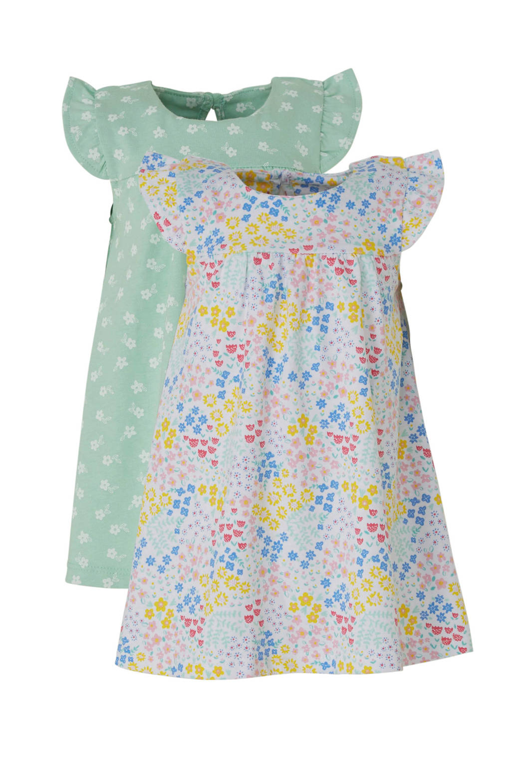 C&A Baby Club gebloemde jurk - set van 2, Wit/mintgroen