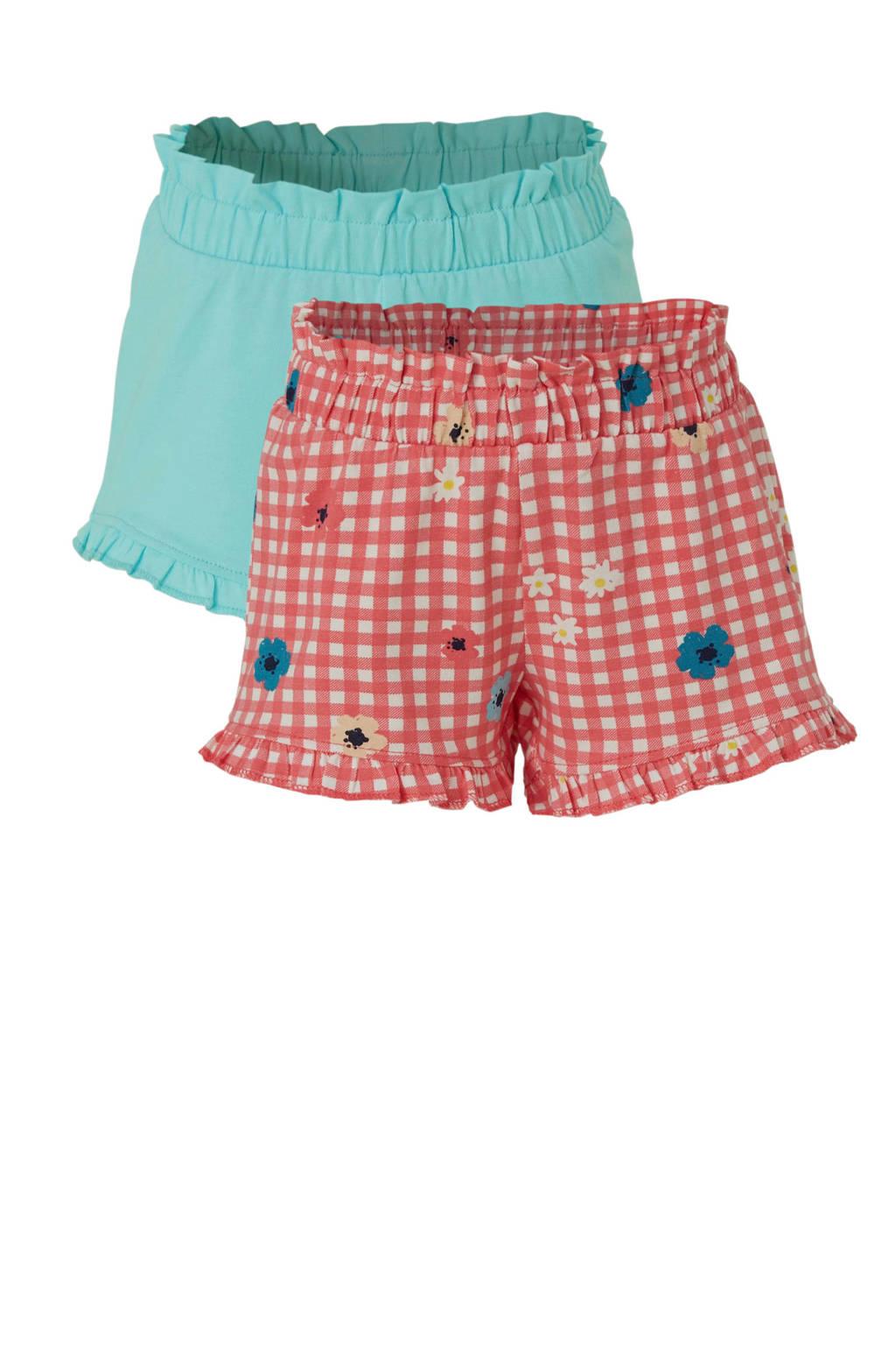 C&A Palomino geruite sweatshort roze/lichtblauw, Roze/lichtblauw