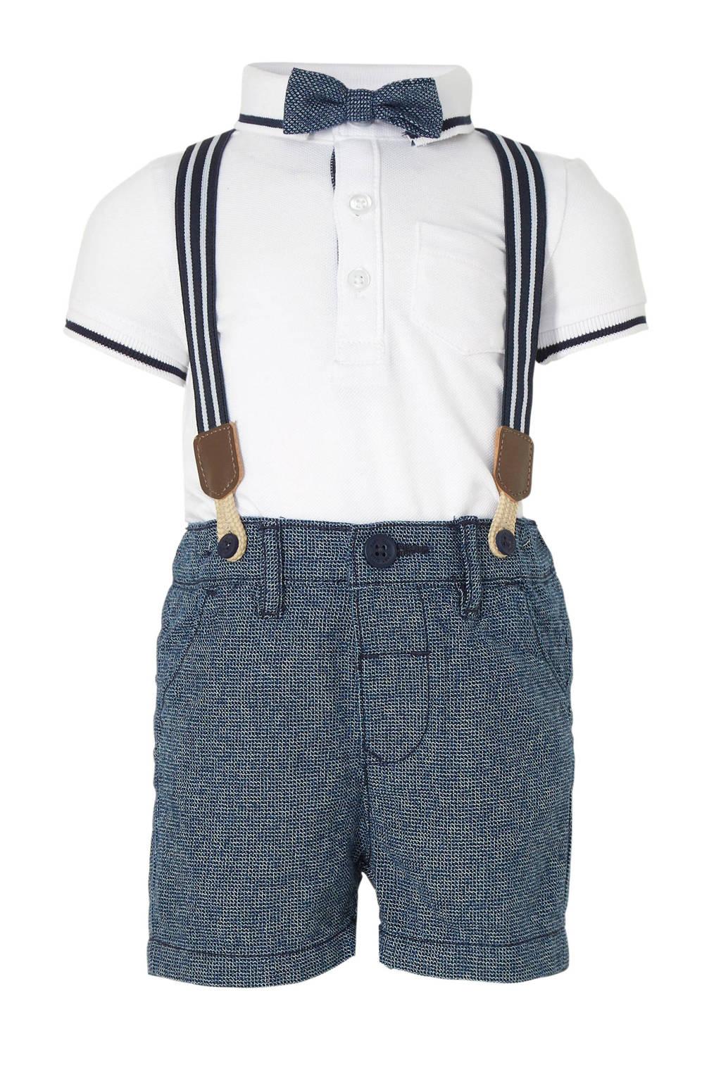 C&A Baby Club polo + korte broek wit/blauw, Wit/blauw
