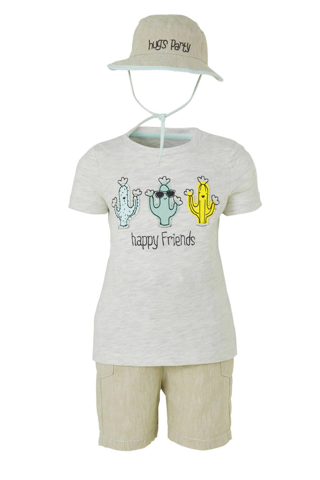 C&A Baby Club T-shirt + short + hoed grijs, Grijs/groen/geel