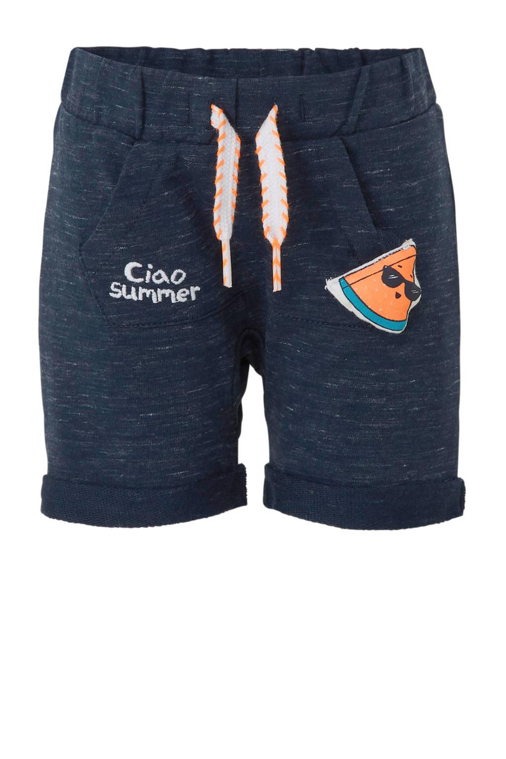 C&A Baby Club loose fit sweatshort met tekst blauw/oranje, Blauw/oranje
