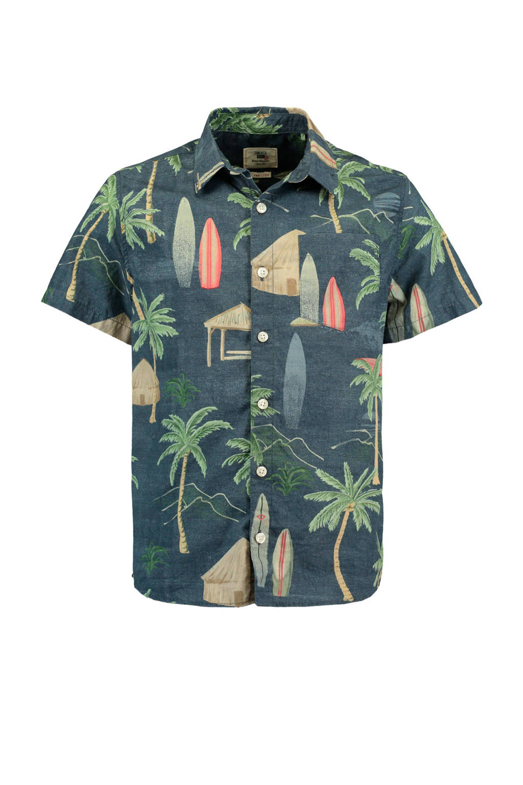 America Today Junior overhemd Bill met all over print donkerblauw, Donkerblauw/groen/multi