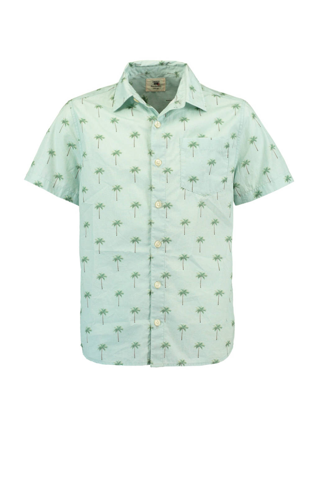 America Today Junior overhemd Bill met all over print lichtblauw, Lichtblauw