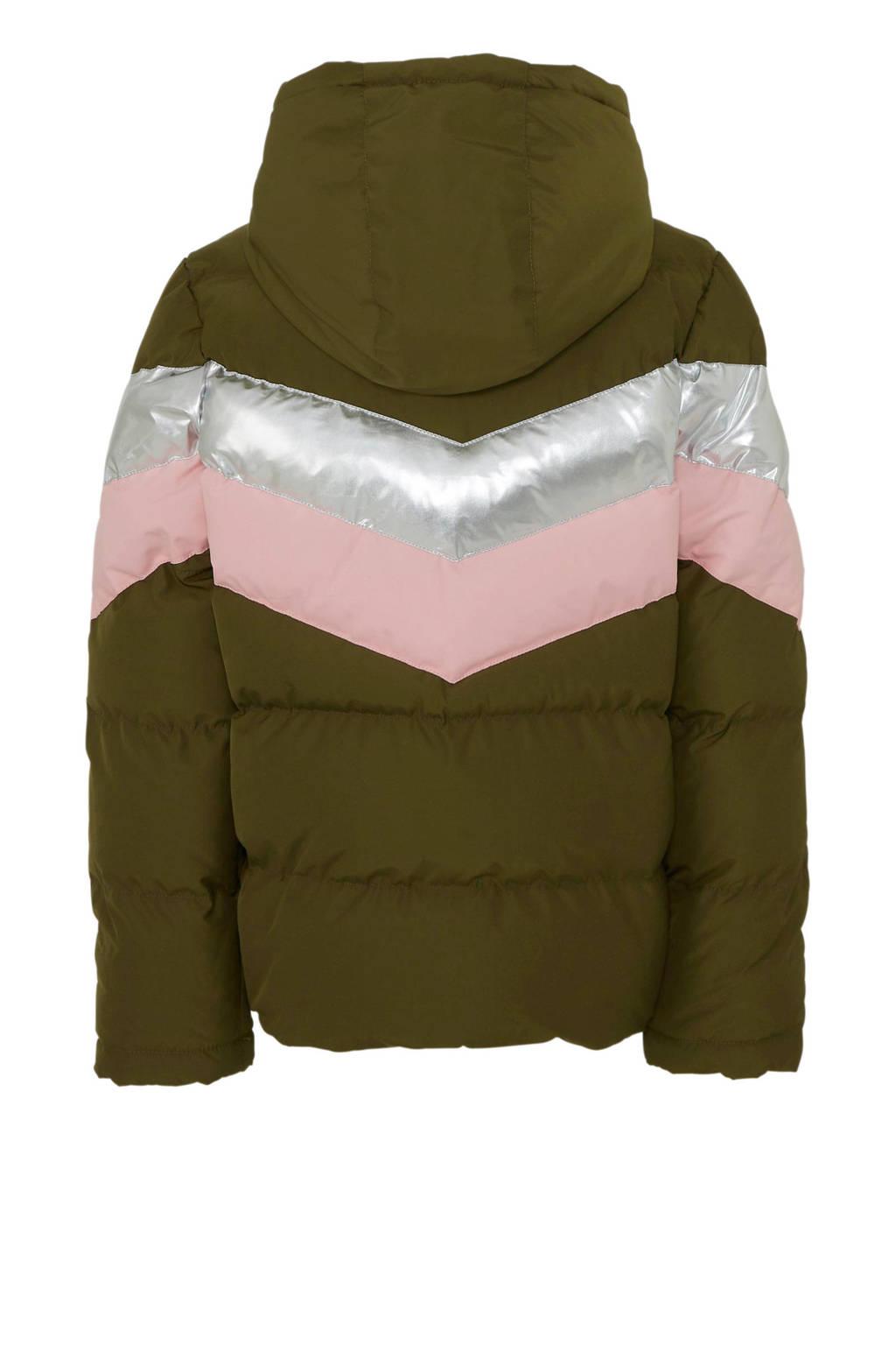 Cars winterjas Sarina donkergroen, Army groen/roze/zilver