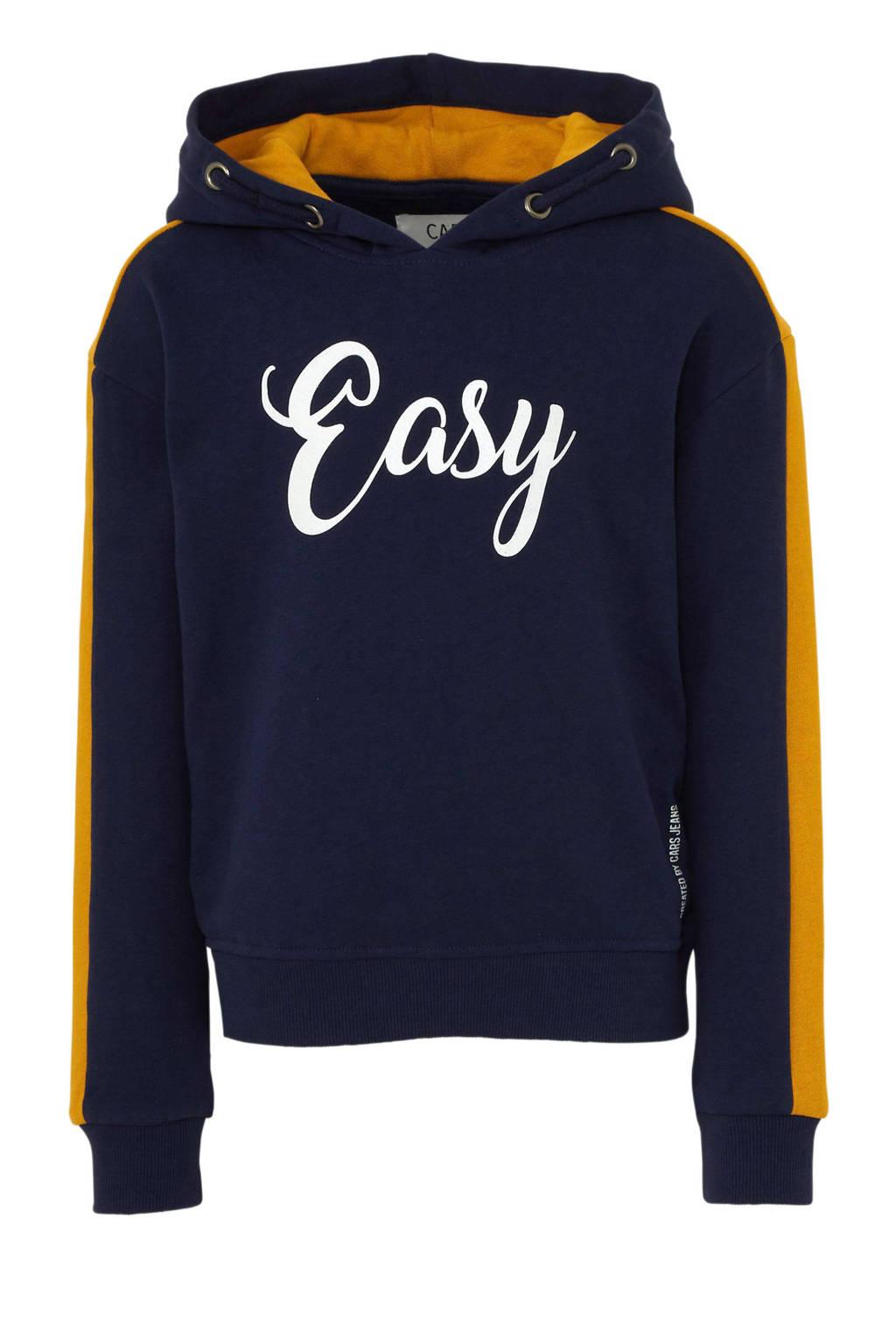 Cars hoodie Cambria met tekst donkerblauw/oker, Donkerblauw/oker