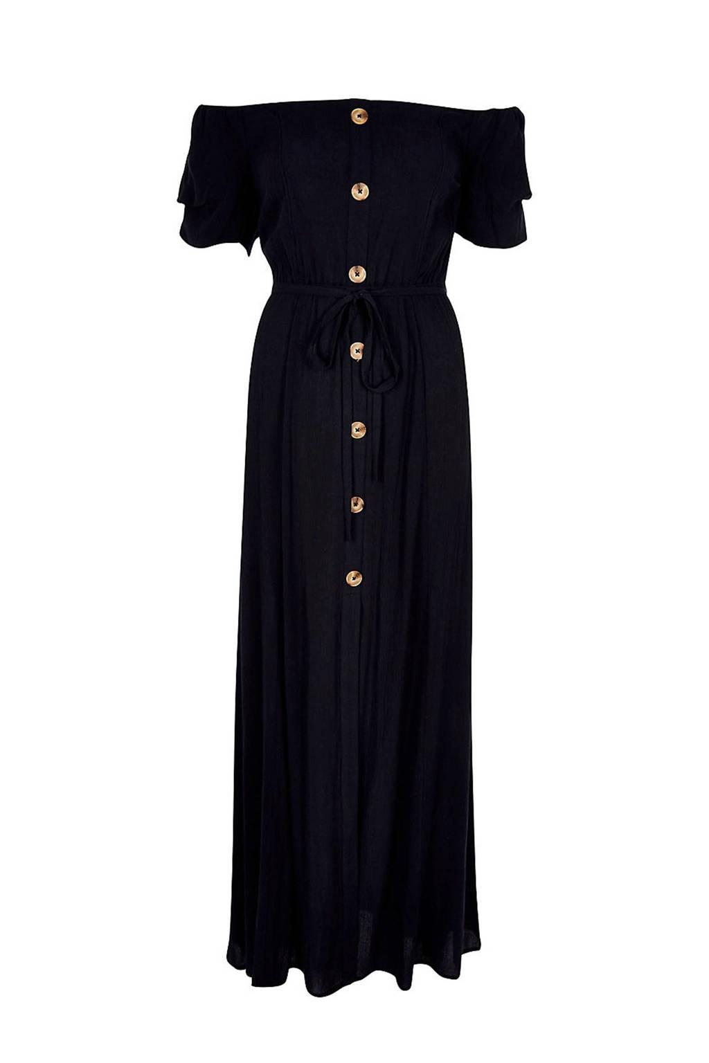 River Island off shoulder jurk met knopen donkerblauw, Donkerblauw