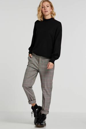 geruite straight fit pantalon Cleo lichtbruin