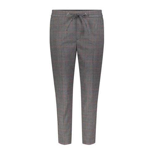 MAC geruite tapered fit broek met zijstreep grijs