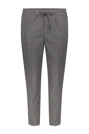 geruite tapered fit broek met zijstreep grijs