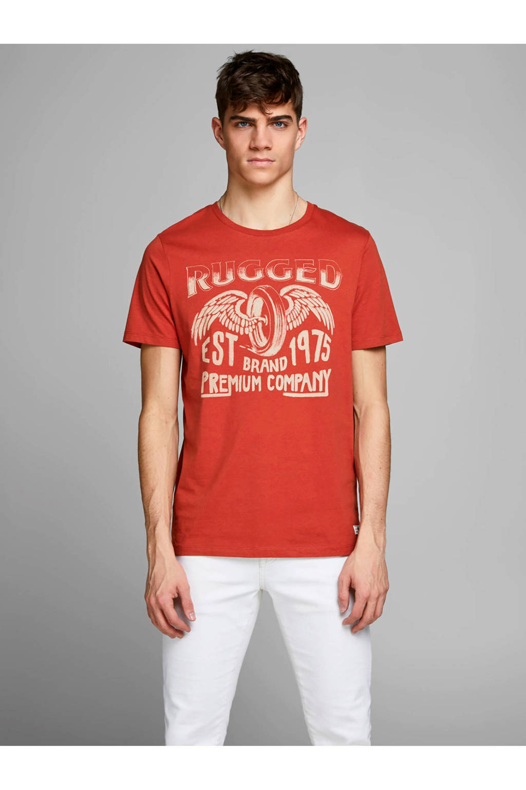 Jack & Jones Premium slim fit T-shirt met printopdruk, Rood