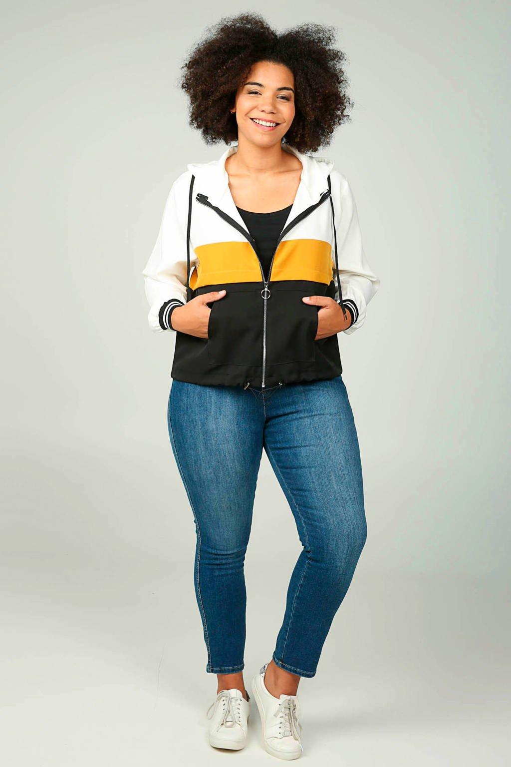 Paprika vest met all over print oker/ecru/zwart, Oker/ecru/zwart
