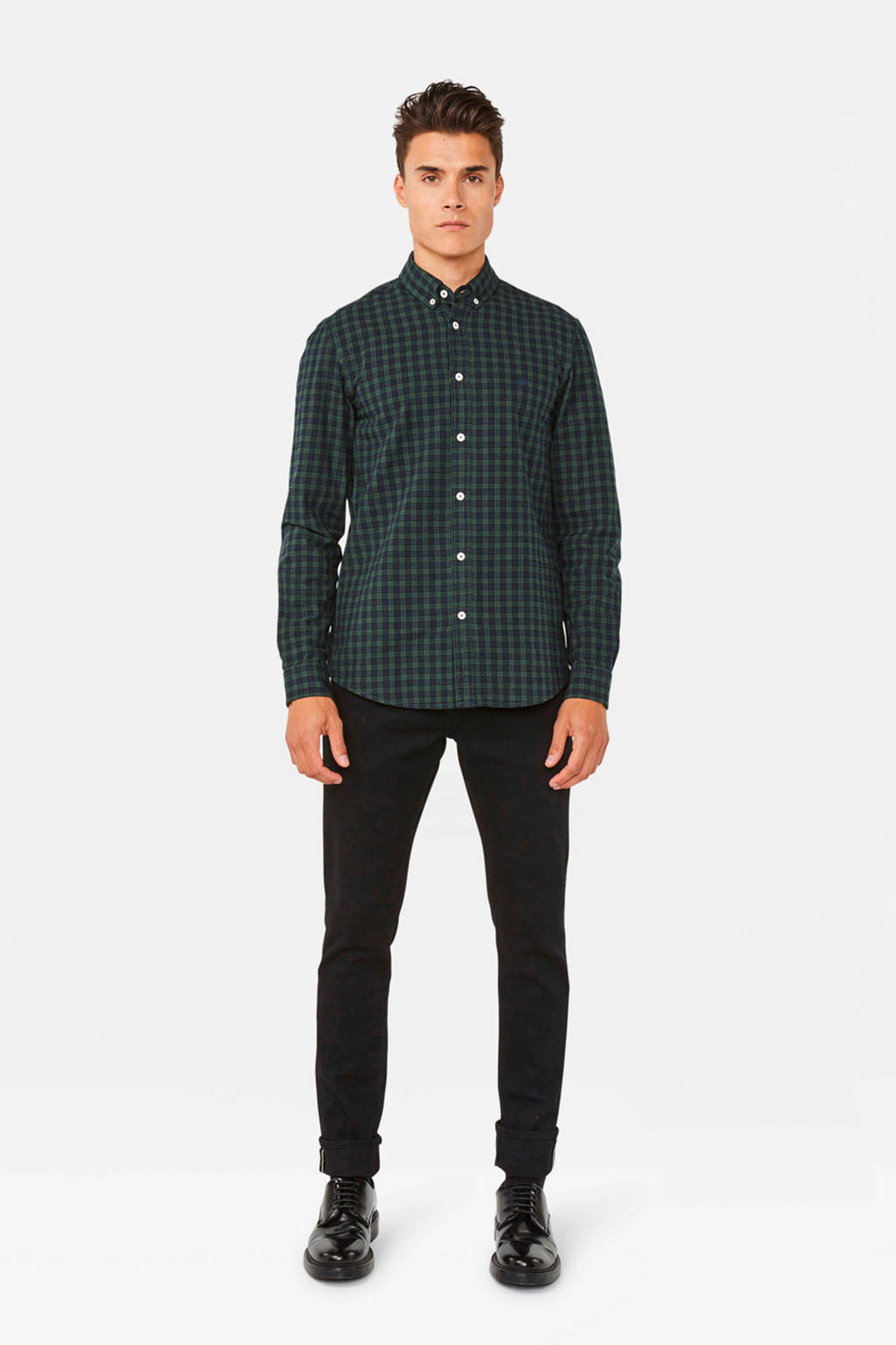 WE Fashion geruit slim fit overhemd donkergroen, Donkergroen