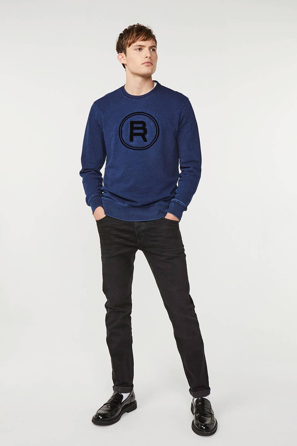 WE Fashion Blue Ridge sweater met printopdruk donkerblauw, Donkerblauw