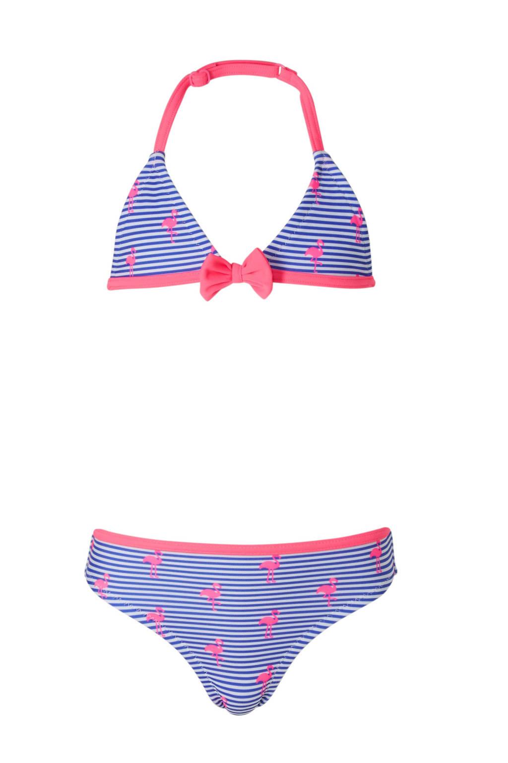 C&A Rodeo gestreepte bikini met flamingo's blauw, Blauw/roze/wit