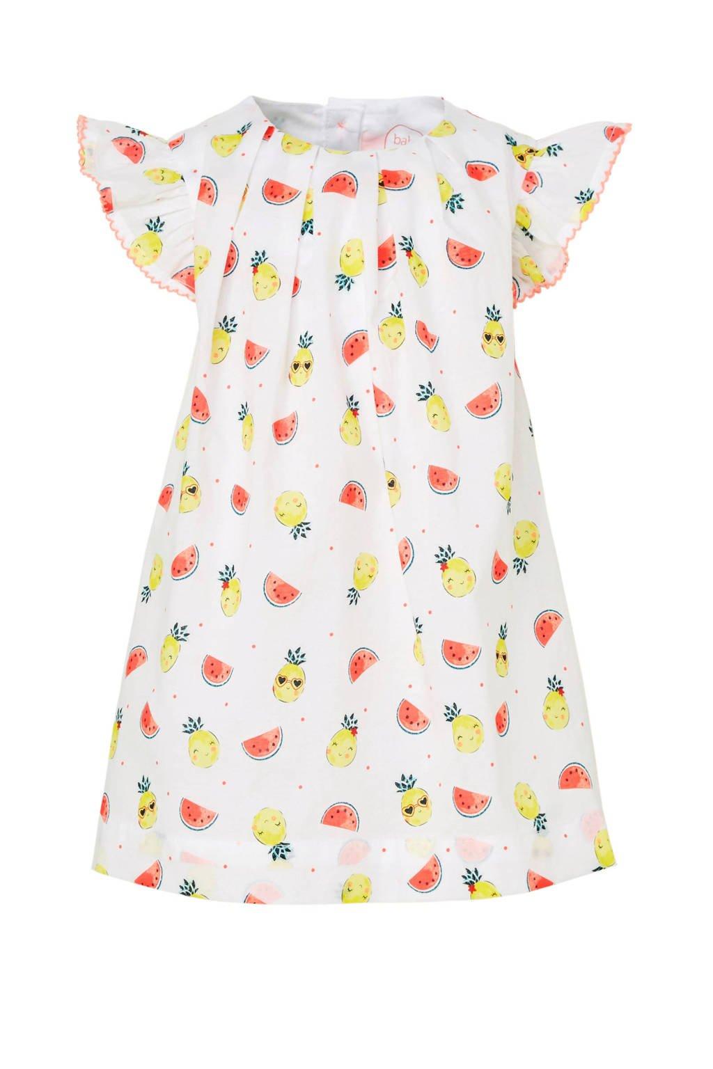 C&A Baby Club jurk met fruitprint wit, Wit