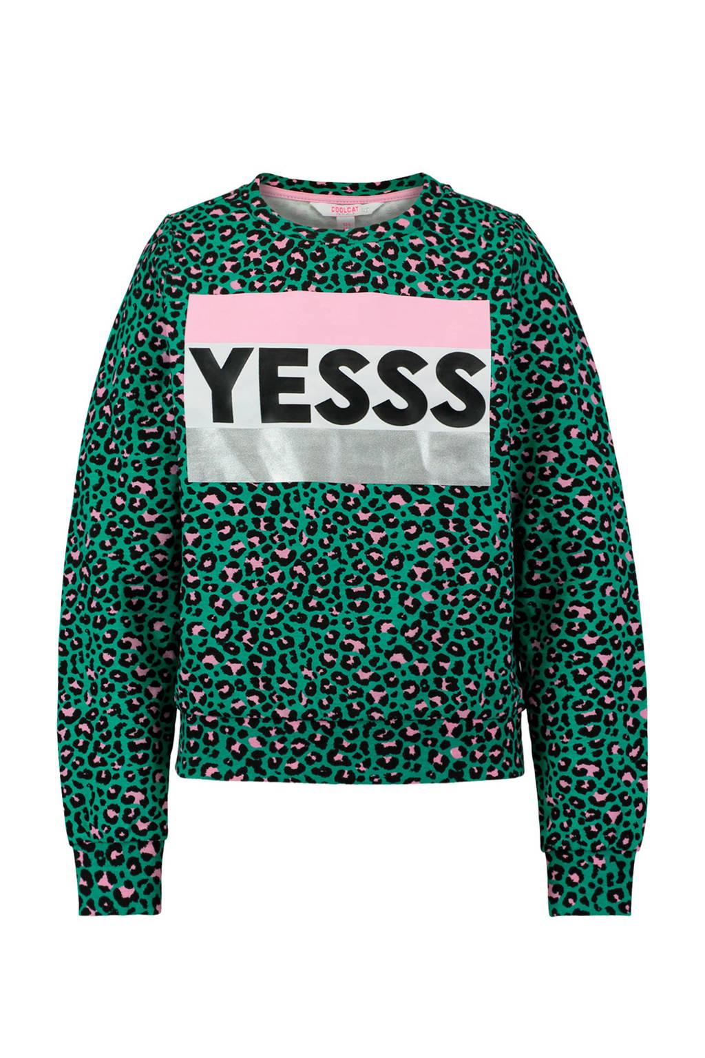 CoolCat sweater met panterprint en tekst groen, Groen