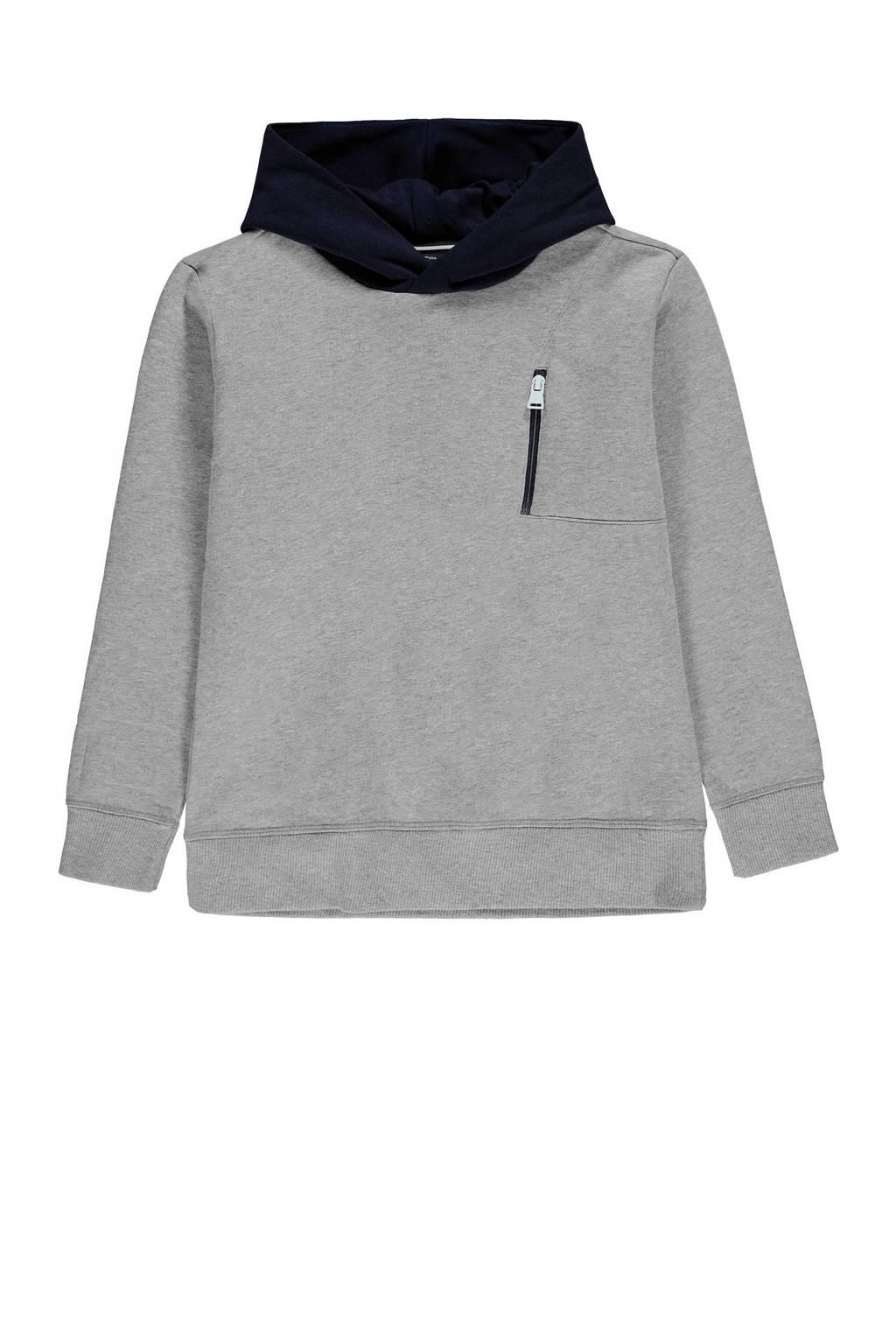 Marc O'Polo hoodie met logo grijs melange, Grijs melange