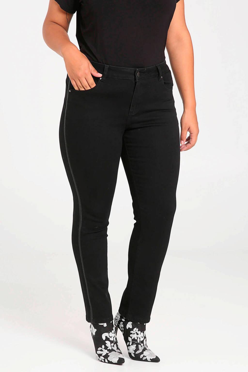 Paprika slim fit broek zwart, Zwart