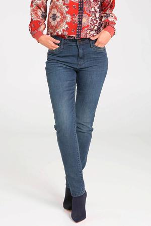 coated slim fit broek denim