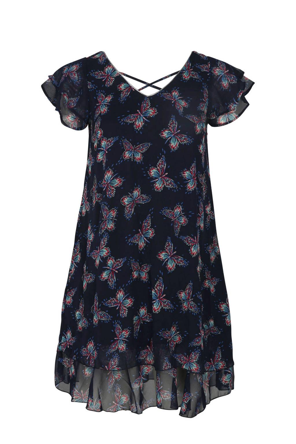 Paprika voile jurk met vlinderprint marine, Marineblauw