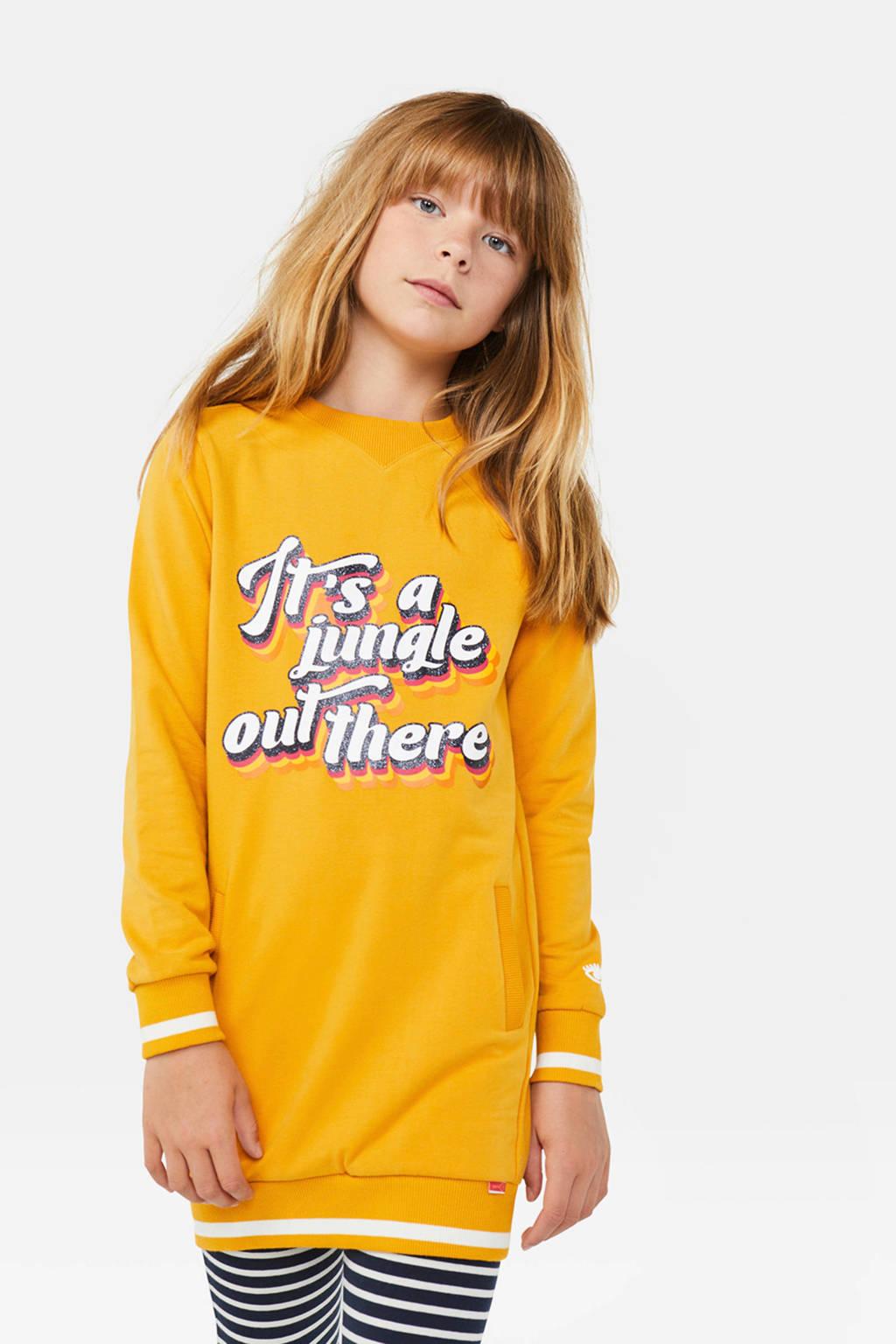 WE Fashion sweatjurk met tekst geel, Geel