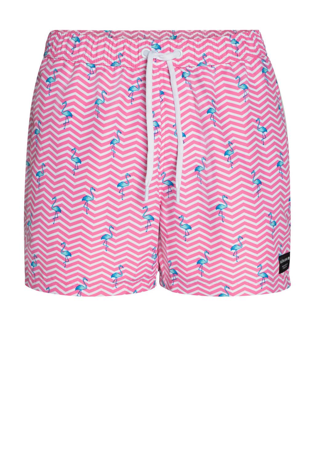 Björn Borg zwemshort met all over print roze, Roze/wit