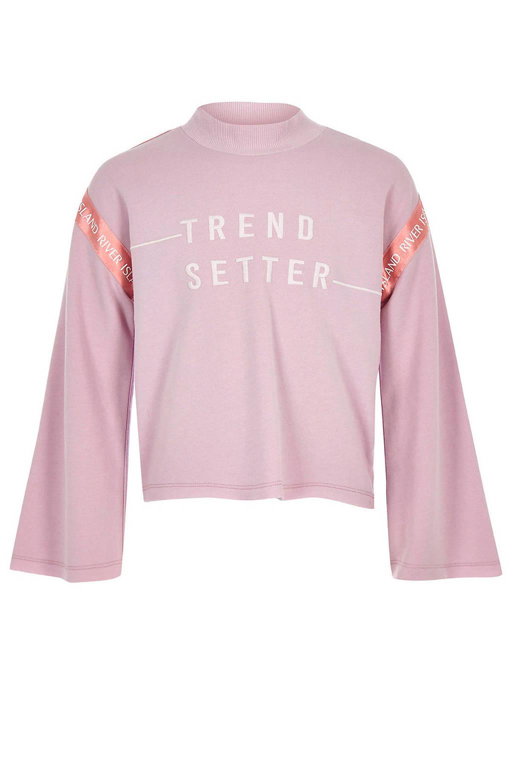 River Island cropped sweater met tekst lila, Lila