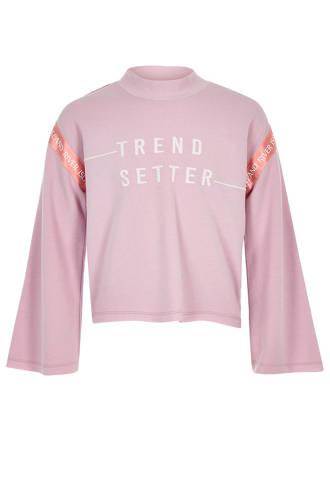 cropped sweater met tekst lila