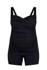 Zizzi badpakshort +size met plooien zwart, Zwart