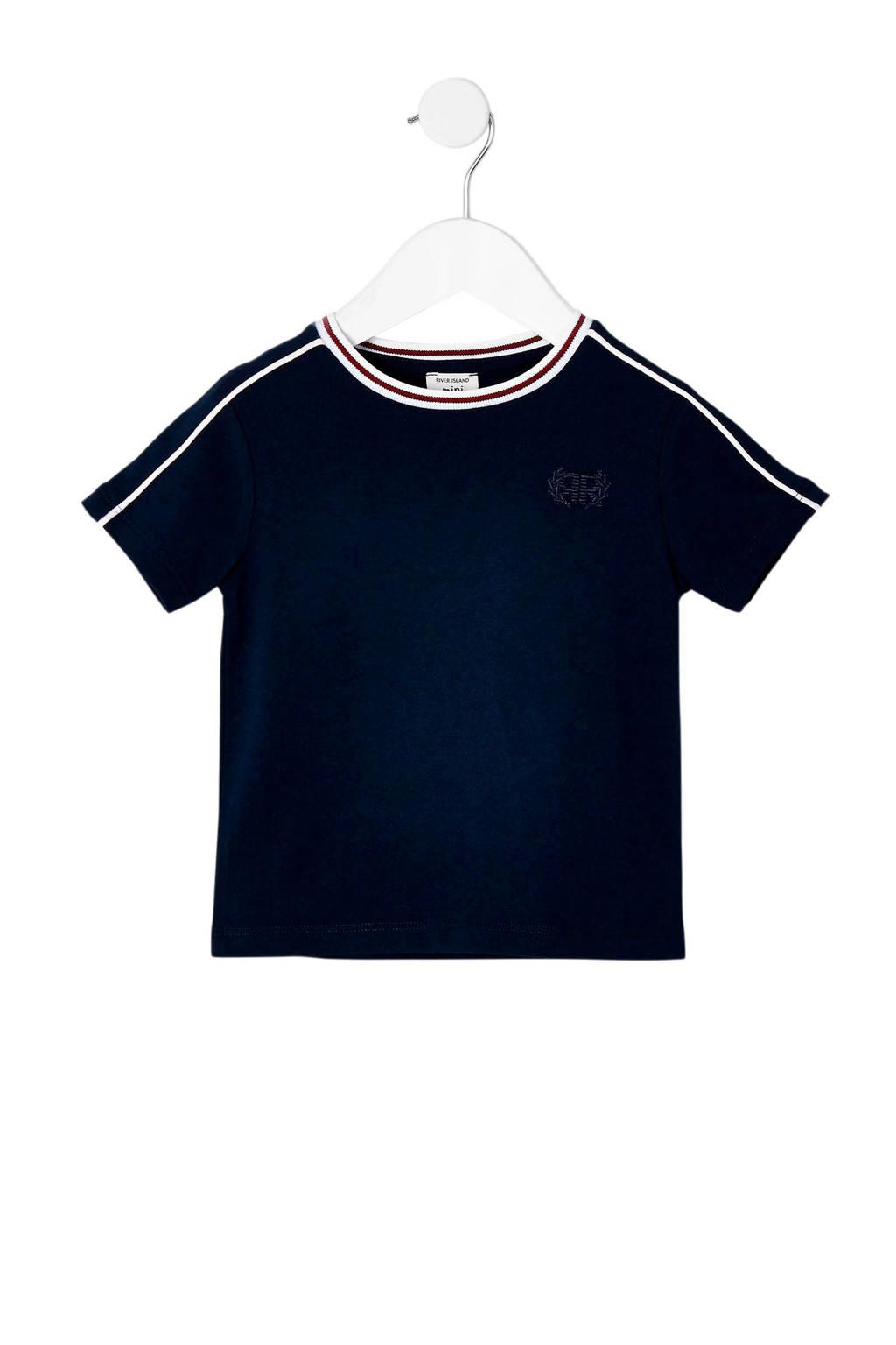 River Island T-shirt met contrastbies donkerblauw, Donkerblauw
