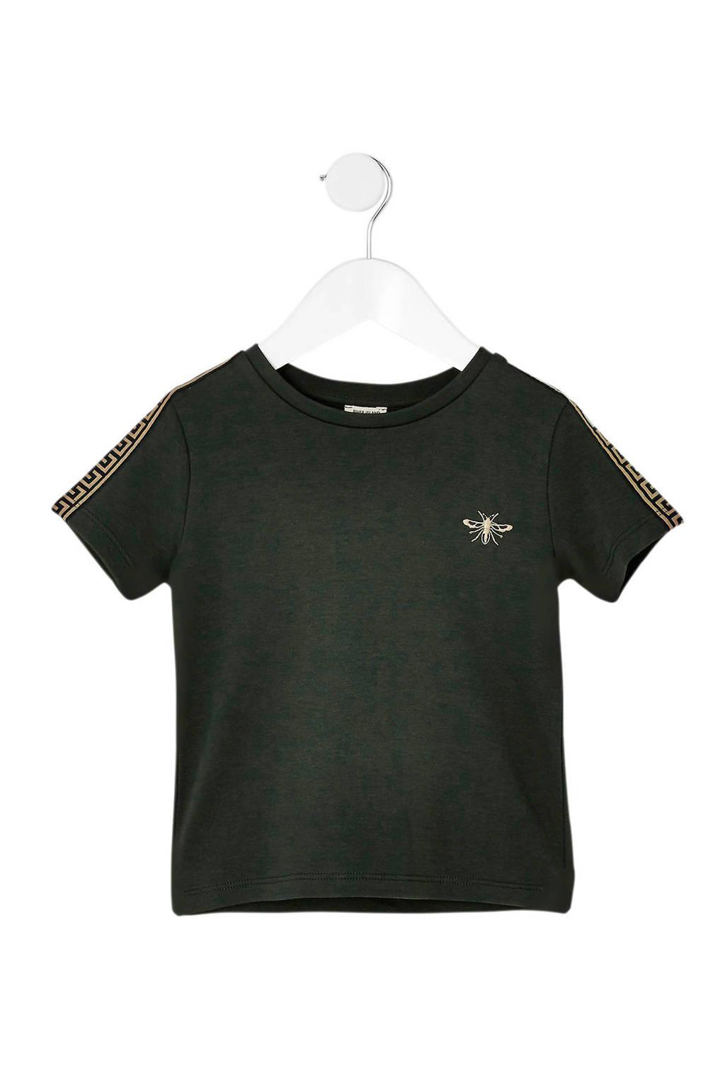 River Island T-shirt met zijstreep en borduursels donkergroen, Donkergroen