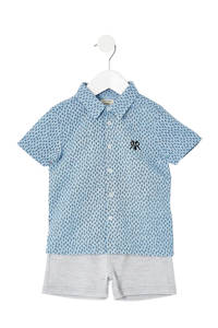 River Island polo + sweatshort, Blauw/grijs
