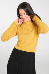 Cassis fijngebreide top met col geel, Geel