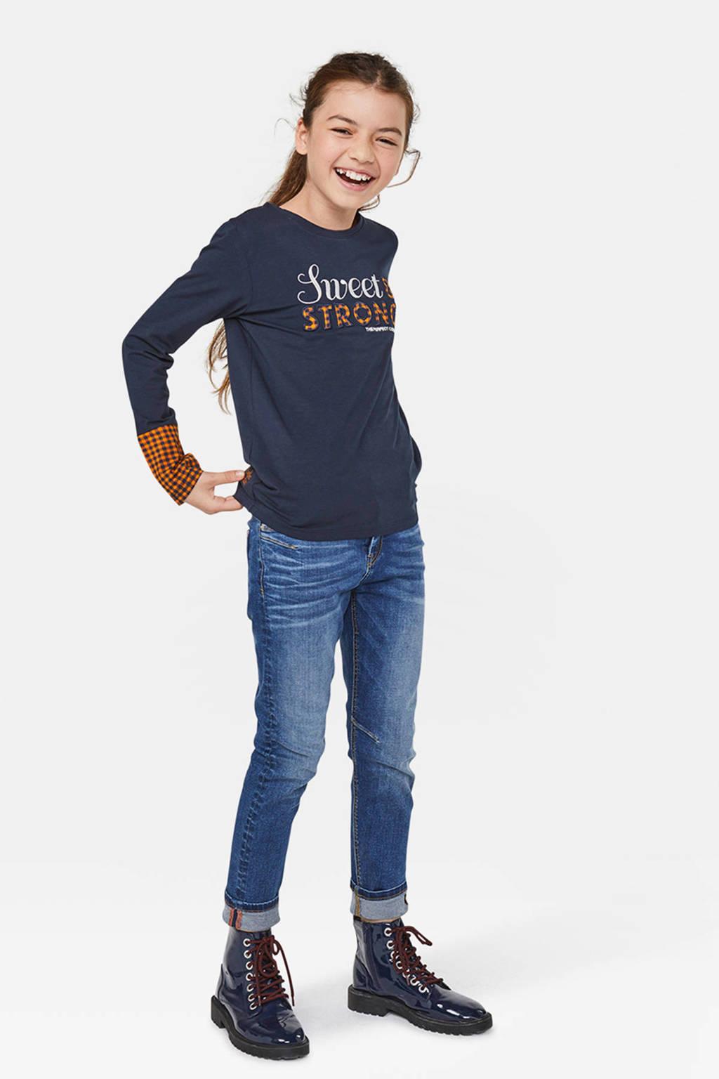 WE Fashion longsleeve met tekst donkerblauw/geel, Donkerblauw/geel