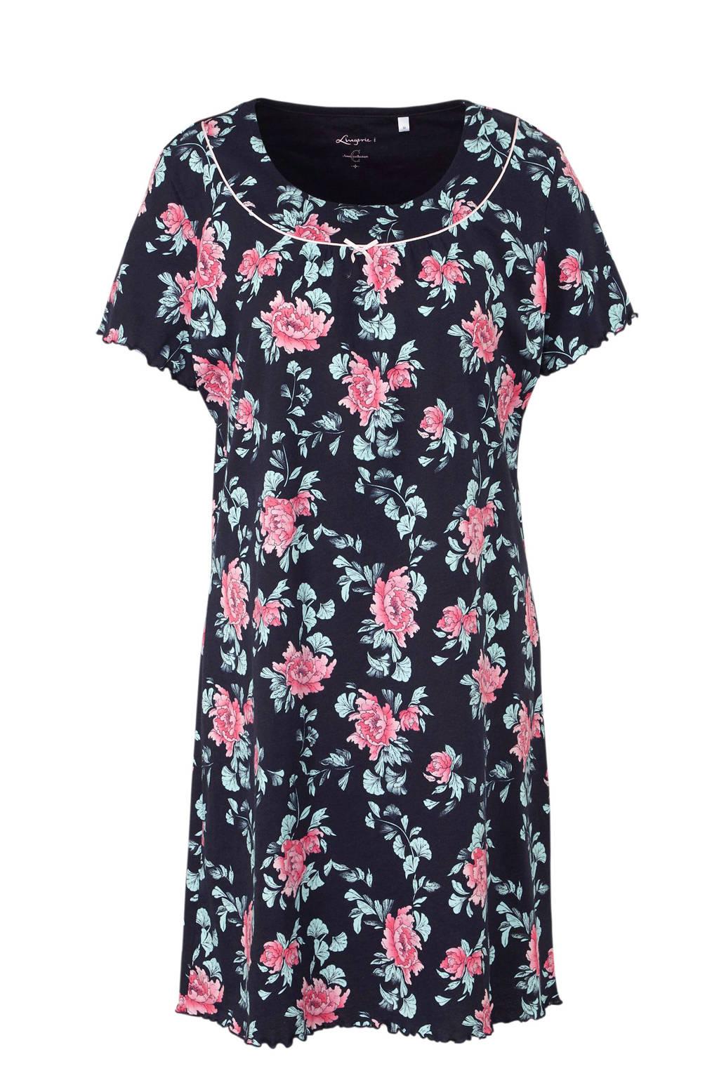 C&A nachthemd met all over bloemenprint marine, Marine/roze