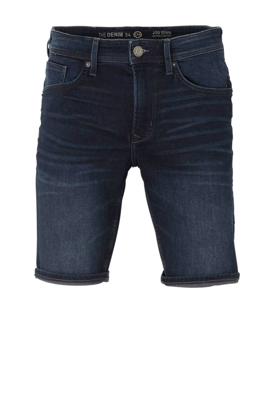 C&A The Denim regular fit denim jeans short, Donkerblauw