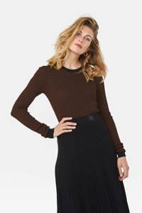 WE Fashion fijngebreide trui met all over print en textuur zwart/bruin, Zwart/bruin