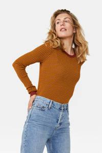 WE Fashion fijngebreide trui met all over print en textuur geel/brique, Geel/brique