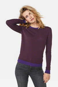 WE Fashion fijngebreide trui met all over print en textuur paars, Paars