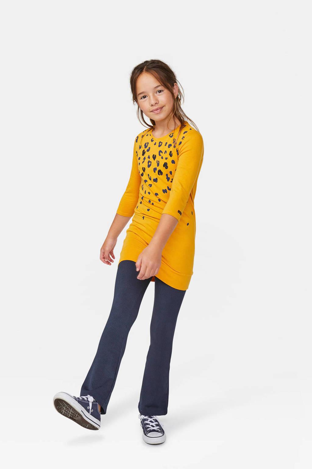 WE Fashion tuniek met panterprint en pailletten geel, Geel
