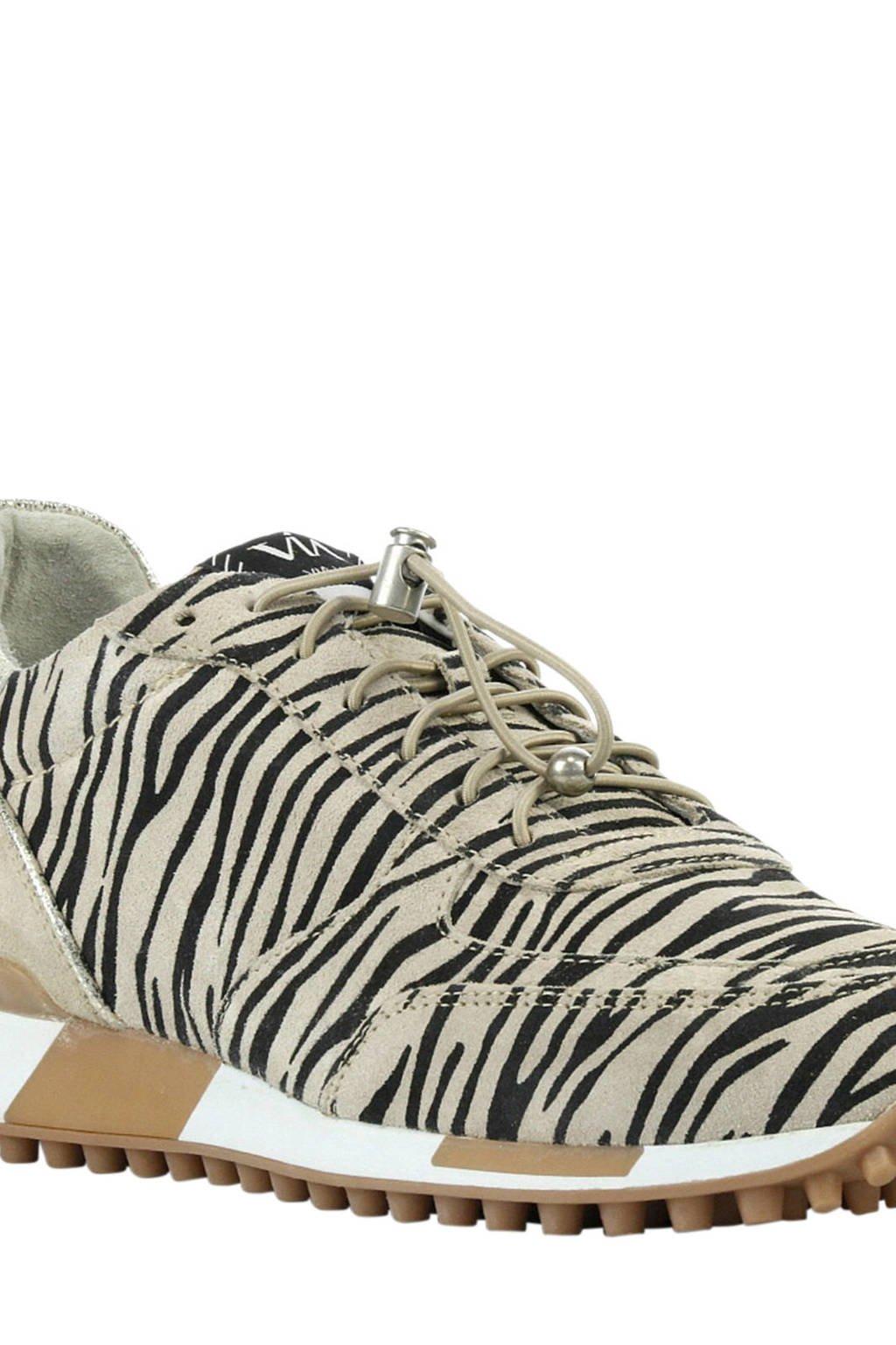 Via Vai 5107076-00 leren sneakers met zebraprint, Beige/zwart