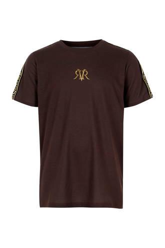 T-shirt met contrastbies bruin