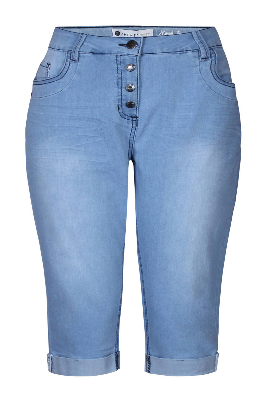 Zhenzi slim fit capri jeans, Lichtblauw