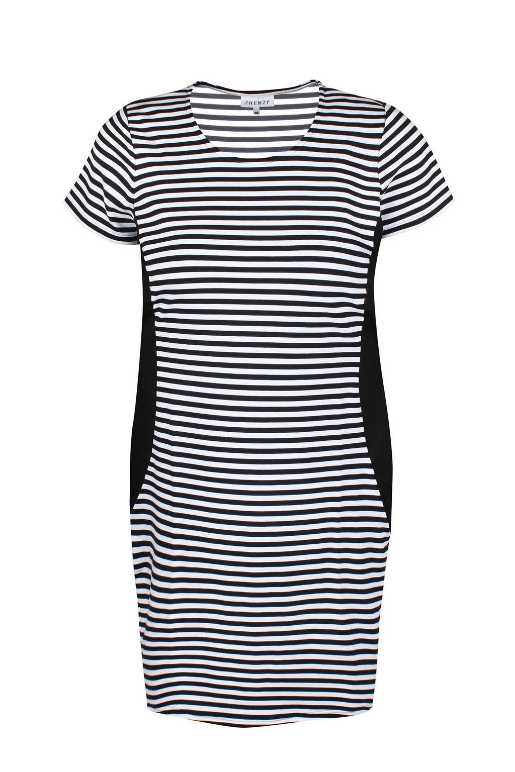 Zhenzi gestreepte jurk zwart/wit, Zwart/wit