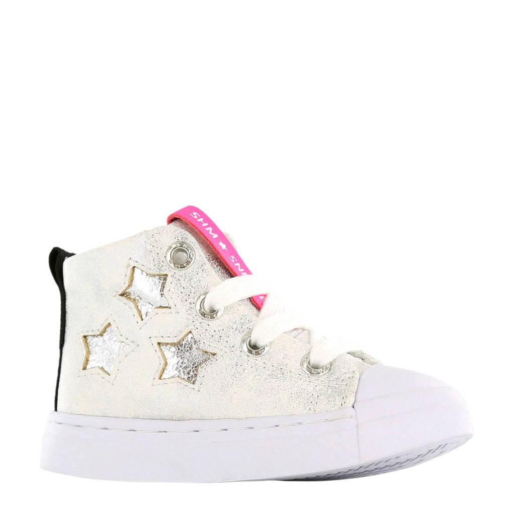 Shoesme SH9S038-C leren sneakers wit, Zilver