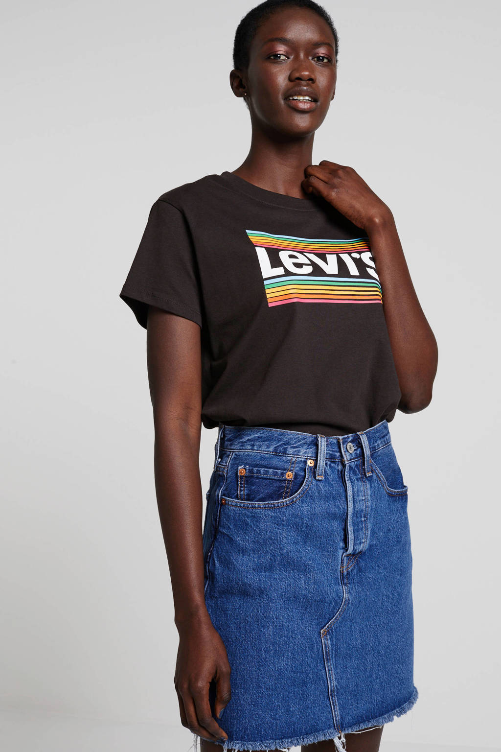 Levi's crop top met logo zwart mutli, Zwart mutli